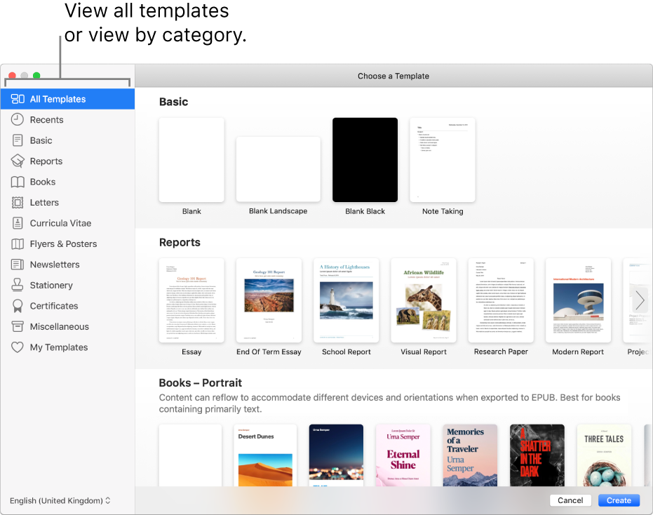 The template chooser. A sidebar on the left lists template categories you can click to filter options. On the right are thumbnails of predesigned templates arranged in rows by category, starting with Basic at the top and followed by Reports and Books — Portrait. The Language and Region pop-up menu is in the bottom-left corner, and Cancel and Create buttons are in the bottom-right corner.