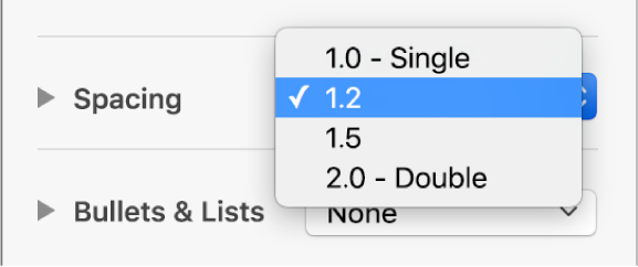 The Spacing pop-up menu with Single, Double and other options.