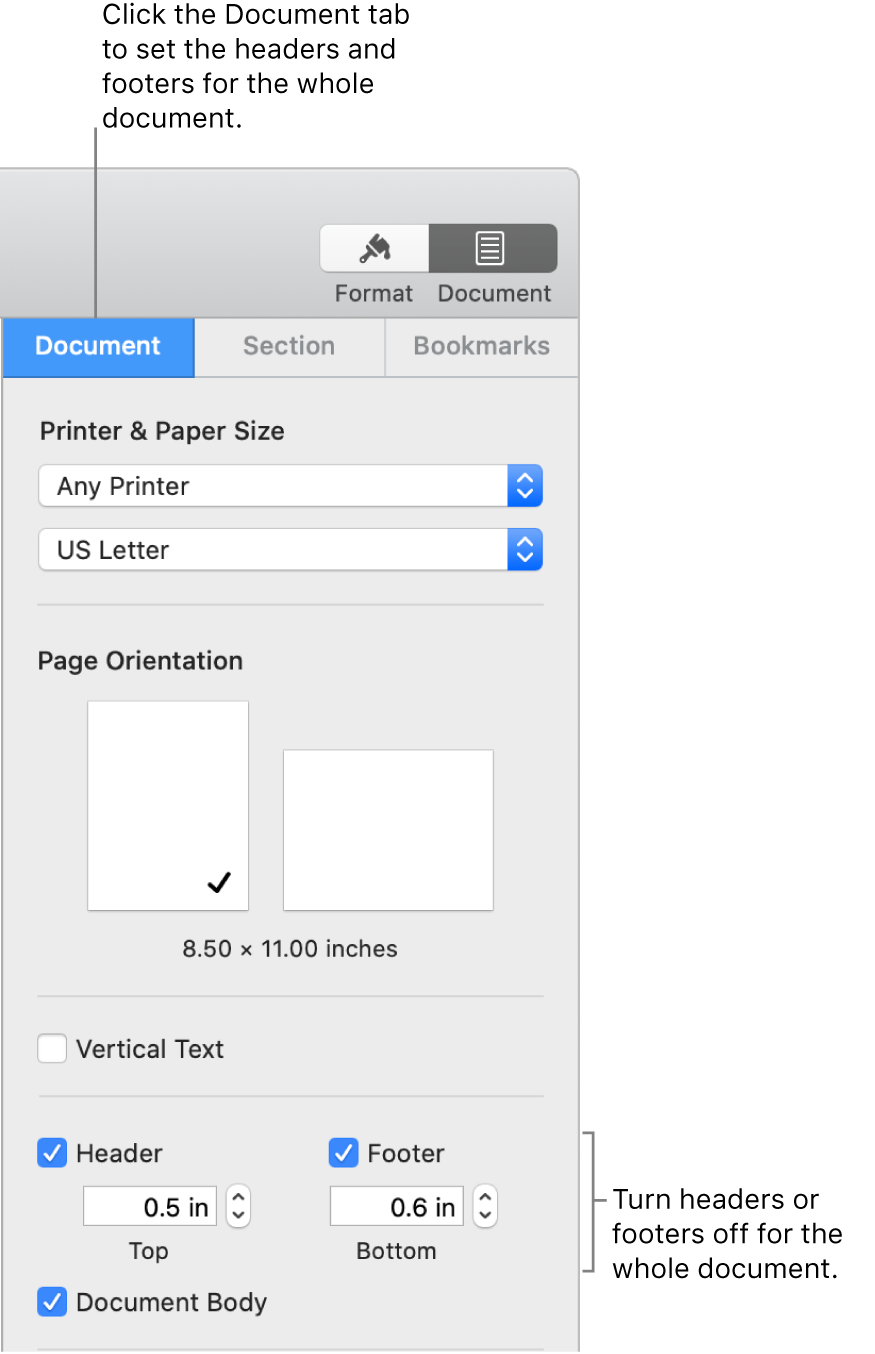 The Document sidebar with the Document tab at the top of the sidebar selected. Separate checkboxes for Header and Footer are selected, and below each are arrows to change the distance from of headers and footers from the top and bottom of the page.