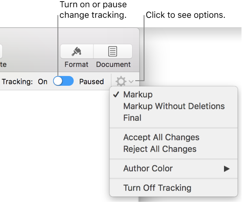 The tracking options menu showing Turn off Tracking at the bottom, and callouts to the Tracking On and Paused button.