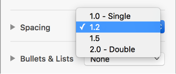 The Spacing pop-up menu with Single, Double, and other options.