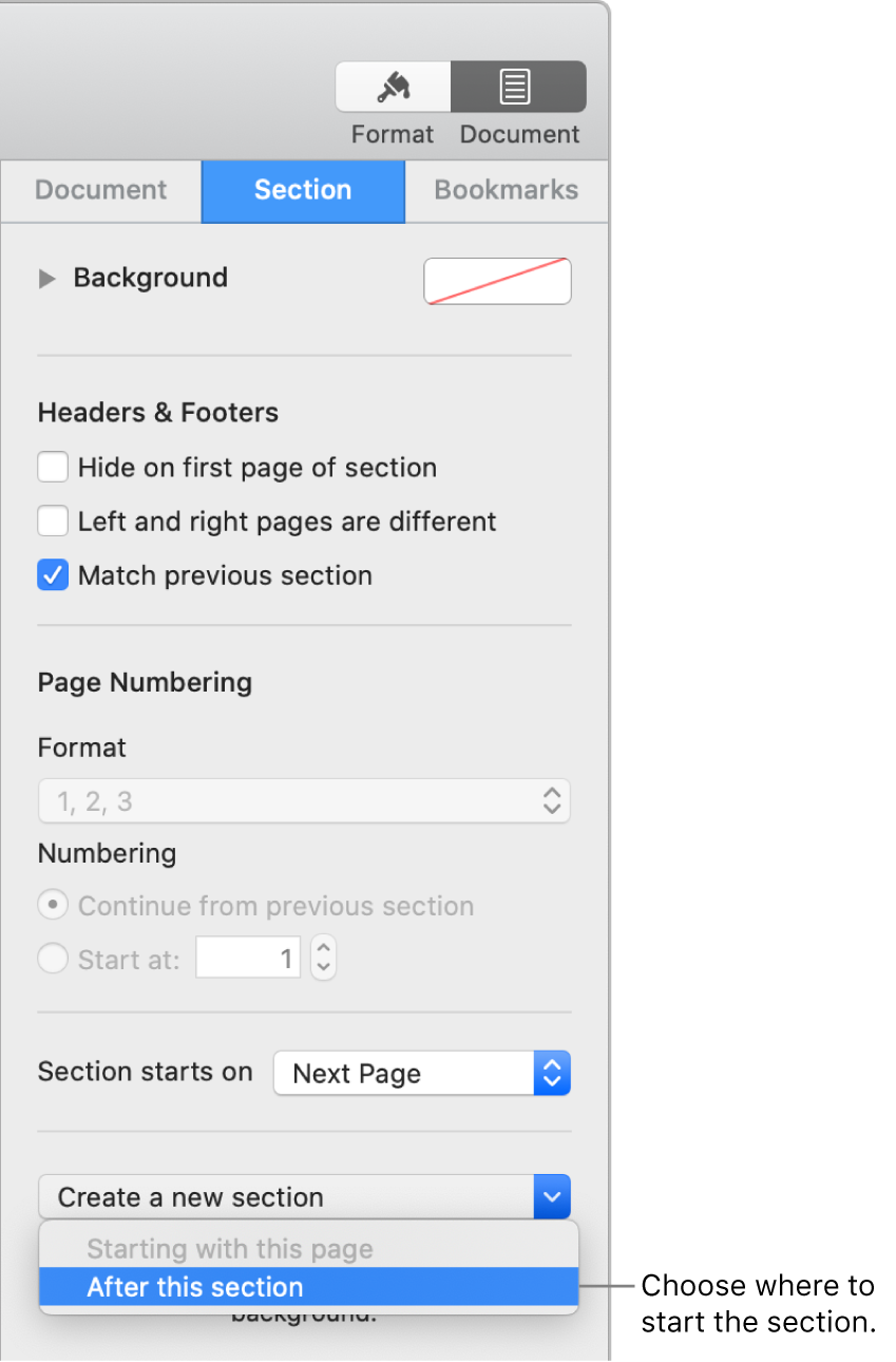 "The Document sidebar with the Section tab selected. Near the bottom of the sidebar is a ""Section starts on"" pop-up menu and a ""Create a new section"" pop-up menu."