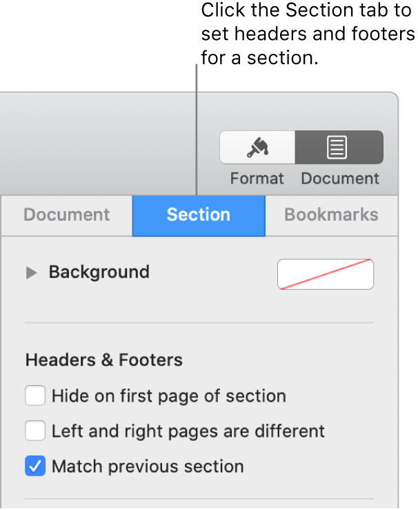 """The Document sidebar with the Section tab at the top of the sidebar selected. The Headers & Footers section of the sidebar has checkboxes next to """"Hide on first page of section,"""" """"Left and right pages are different,"""" and """"Match previous section."""""""