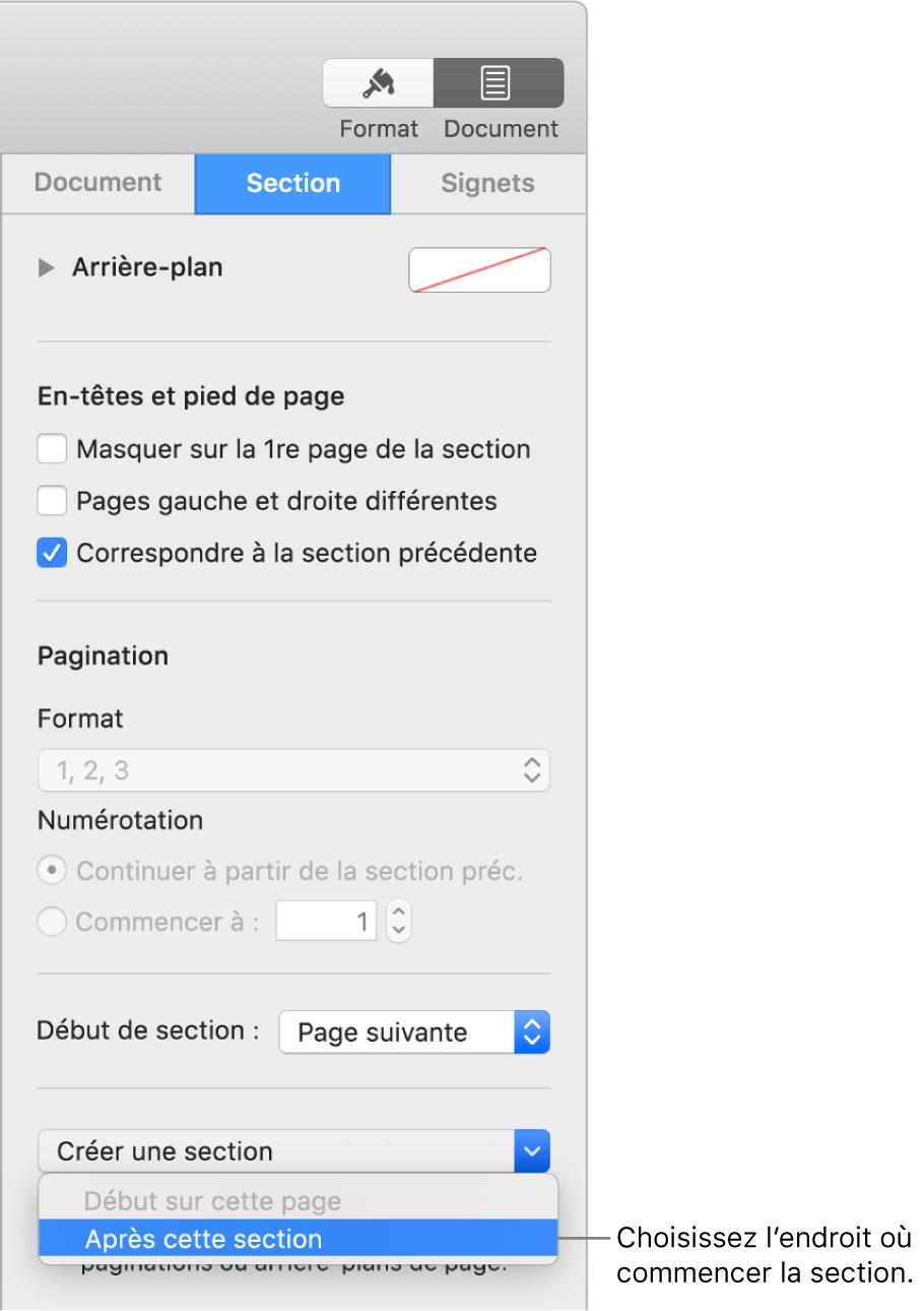 La barre latérale Document avec l'onglet Section sélectionné. Les menus locaux «Début de section» et «Créer une section» se trouvent près du bas de la barre latérale.