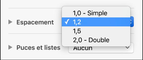 Le menu local Espacement, avec les options Simple, Double et d'autres.