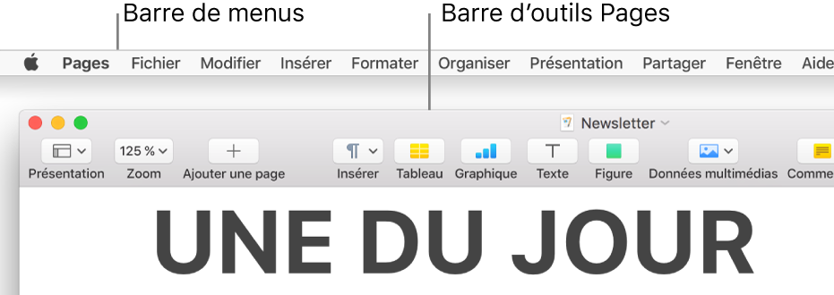 Barre des menus avec le menu Pomme et le menu Pages dans le coin supérieur gauche et en dessous, la barre d'outils de Pages avec les boutons Présentation et Zoom dans le coin supérieur gauche.