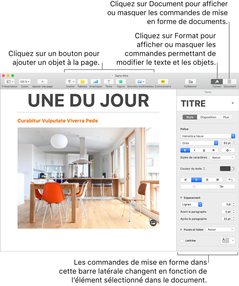 La fenêtre Pages avec dans la barre d'outils des boutons permettant d'ajouter des objets et d'ouvrir des barres latérales.