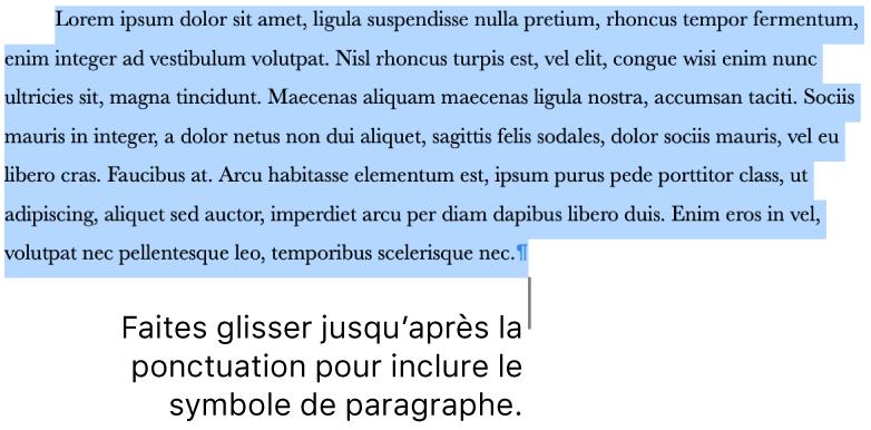 Un paragraphe sélectionné, avec le symbole de paragraphe inclus dans la sélection.