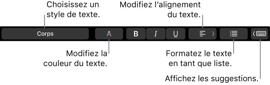 La TouchBar d'un MacBookPro présentant les commandes qui permettent de choisir un style de texte, de modifier sa couleur, son alignement, de le convertir en liste et d'afficher des suggestions de saisie.