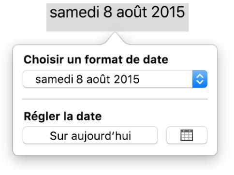 La fenêtre Date et heure affichant un menu local pour le format de date, ainsi qu'un bouton Sur aujourd'hui.