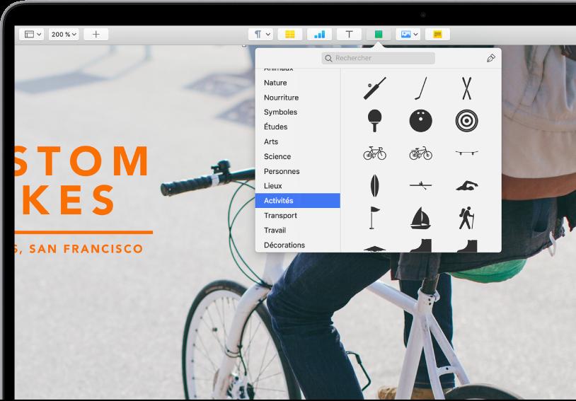 La barre d'outils avec des boutons pour ajouter des tableaux, graphiques, zones de texte, figures et contenus multimédias. L'option Figure est sélectionnée et la catégorie Activités est sélectionnée dans la barre latérale sur la gauche, avec des figures sur la droite.