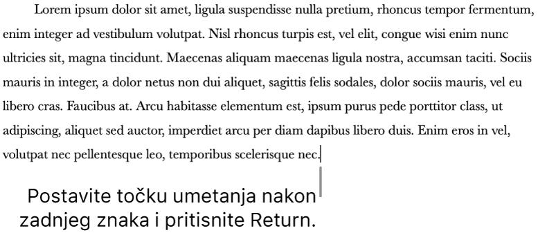Točka umetanja nalazi se nakon točke u zadnjoj rečenici paragrafa.