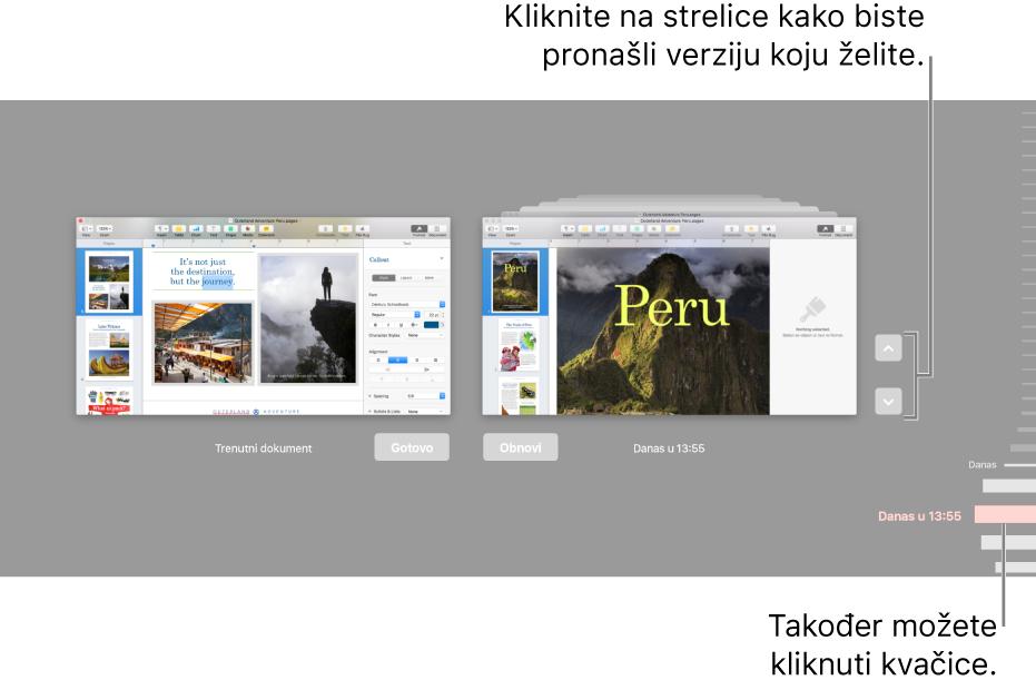 Vremenska traka verzija prikazuje trenutni dokument s lijeve strane i nedavnu verziju s desne.