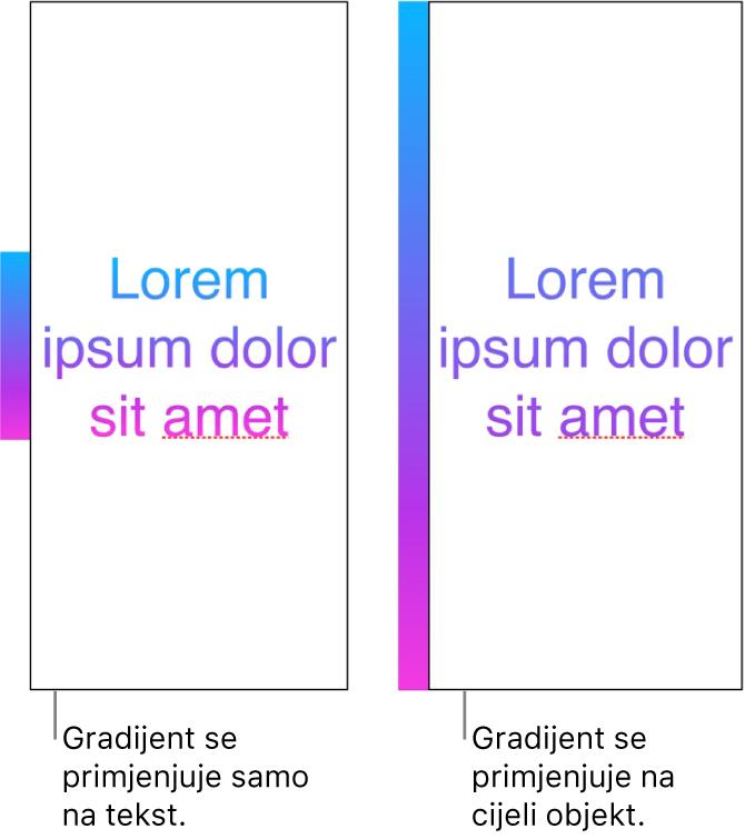 Primjer teksta s gradijentom primijenjenim samo na tekst, tako da se u tekstu prikazuje cijeli spektar boja. Pokraj njega je drugi primjer teksta s gradijentom primijenjenim na cijeli objekt, tako da se u tekstu prikazuje samo dio spektra boja.