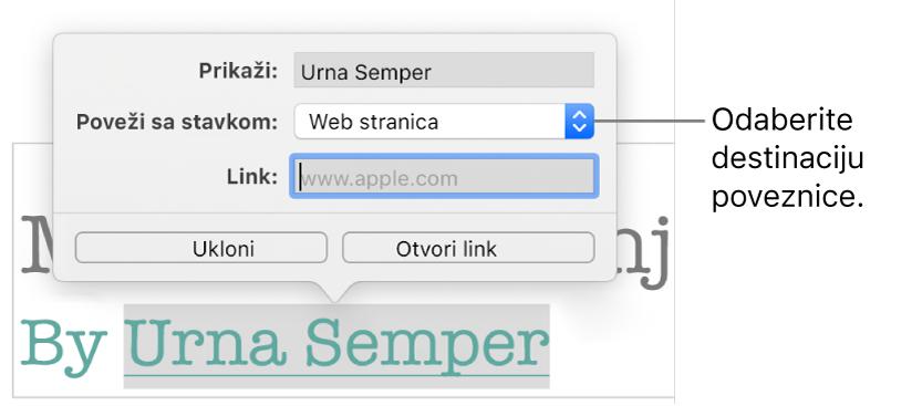 Skočni prikaz Postavke linkova s poljem Prikaži, Poveži s (postavljeno na Web stranicu), i poljem Link. Tipke Ukloni i Otvori link nalaze se na dnu skočnog prikaza.