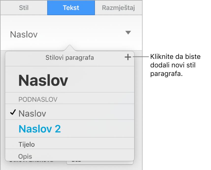 Izbornik stilova paragrafa s oblačićem za tipku Novi stil.
