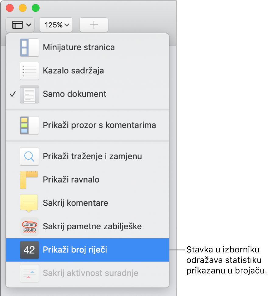 Izbornik Prikaz otvoren s opcijom Prikaži broj znakova pri dnu.