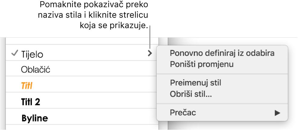 Izbornik stilova paragrafa s otvorenim izbornikom prečaca.