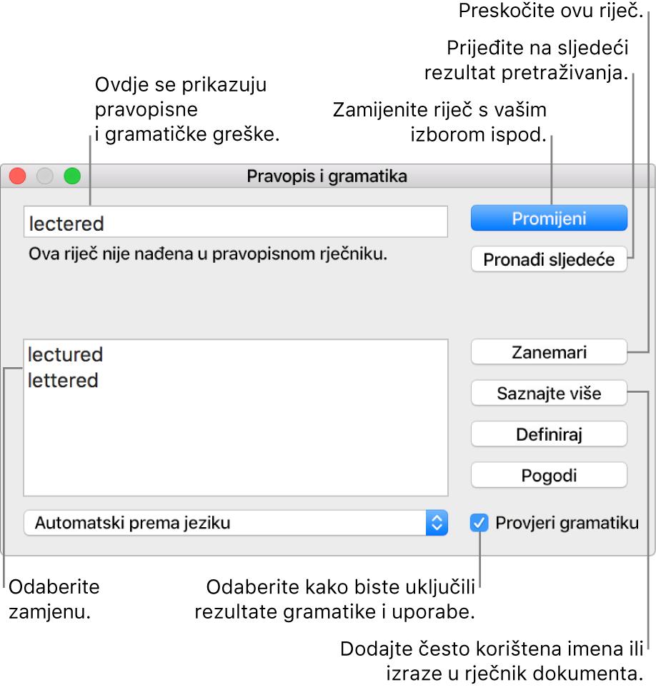 Prozor Pravopis i gramatika.