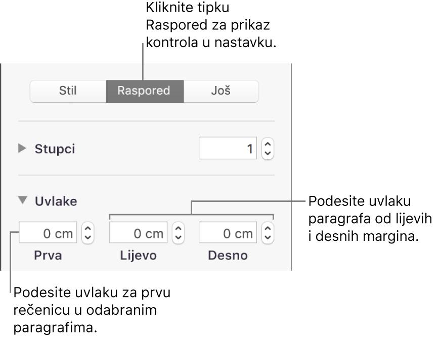 Kontrole u odjeljku Raspored u rubnom stupcu Format za podešavanje uvlake prvog reda.