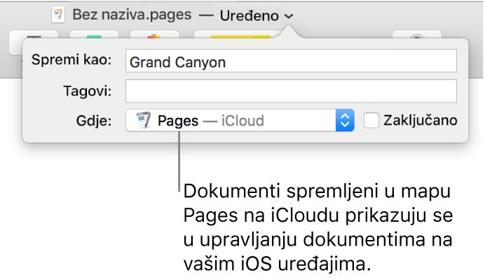 Dijaloški okvir Spremi za dokument s aplikacijom Pages – iCloud u skočnom izborniku Gdje.