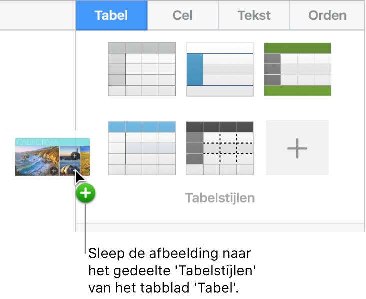 Een afbeelding in het paneel met tabelstijlen slepen om een nieuwe stijl aan te maken.