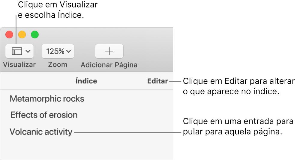 Índice no lado esquerdo da janela do Pages, com um botão Editar no canto superior direito da barra lateral e as entradas do índice em uma lista. O botão Visualizar está no canto superior esquerdo da barra de ferramentas do Pages, acima da barra lateral.