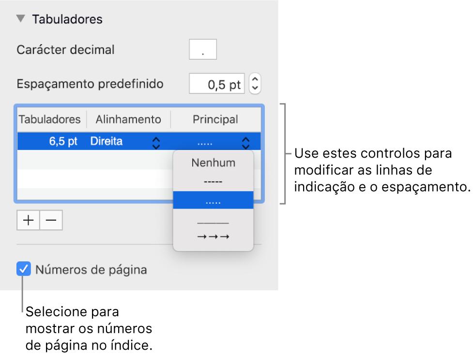 """A secção Separadores da barra lateral Formatação. Por baixo de """"Espaçamento predefinido"""" está uma tabela com as colunas Tabuladores, Alinhamento e Principal. A opção assinalável """"Números de página"""" aparece selecionada e aparece por baixo da tabela."""
