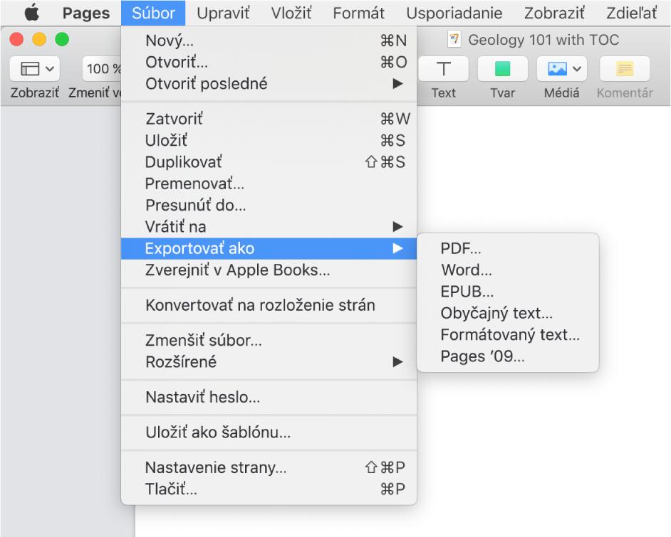 Menu Súbor otvorené soznačenou možnosťou Exportovať do avedľajšie menu zobrazujúce možnosti exportu pre PDF, Word, obyčajný text, formátovaný text, EPUB aPages '09.