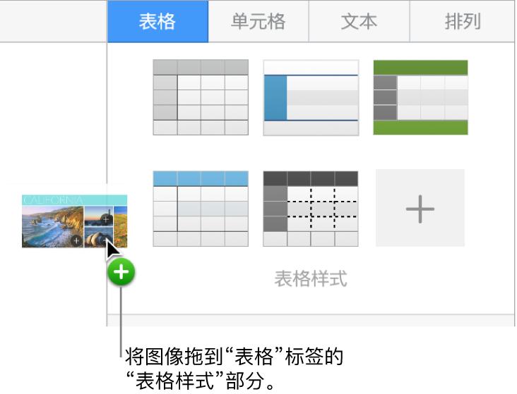 """将图像拖移到""""表格样式""""面板以创建新的样式。"""