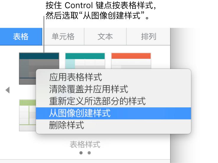 表格样式快捷键菜单。