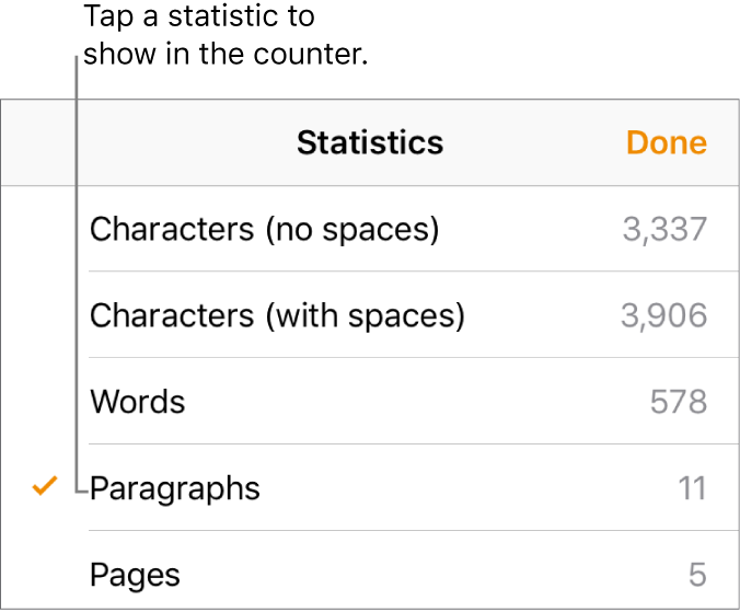 The Statistics menu showing options to show the number of characters without and with spaces, words count, paragraph count, and page count.