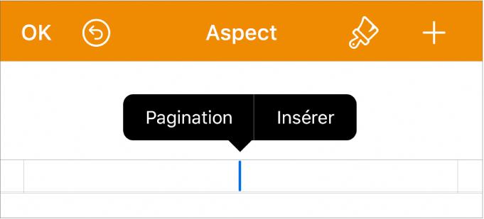 La fenêtre Aspect avec le point d'insertion dans un champ d'en-tête et un menu local contenant deux éléments: Pagination et Insérer.