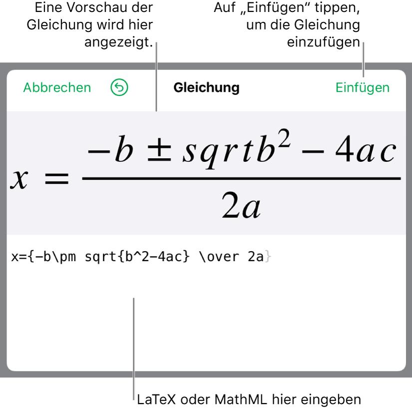 """Die quadratische Formel, die mit LaTeX in das Feld """"Gleichung"""" geschrieben wurde, und einer Vorschau der Formel darunter."""
