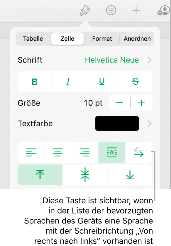 """Der Abschnitt """"Stil"""" des Menüs """"Format"""" mit einer Beschreibung der Taste """"Von rechts nach links"""""""