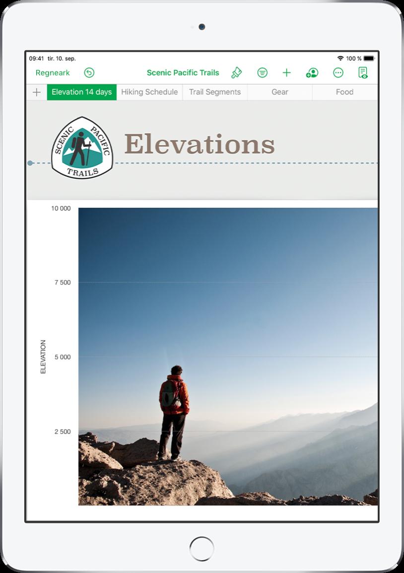 Et regneark med oversikt over turinformasjon, som viser arknavn nær toppen av skjermen. Legg til ark-knappen vises til venstre, etterfulgt av arkfanene Elevation, Hiking Schedule, Trail Segments, Gear og Food.