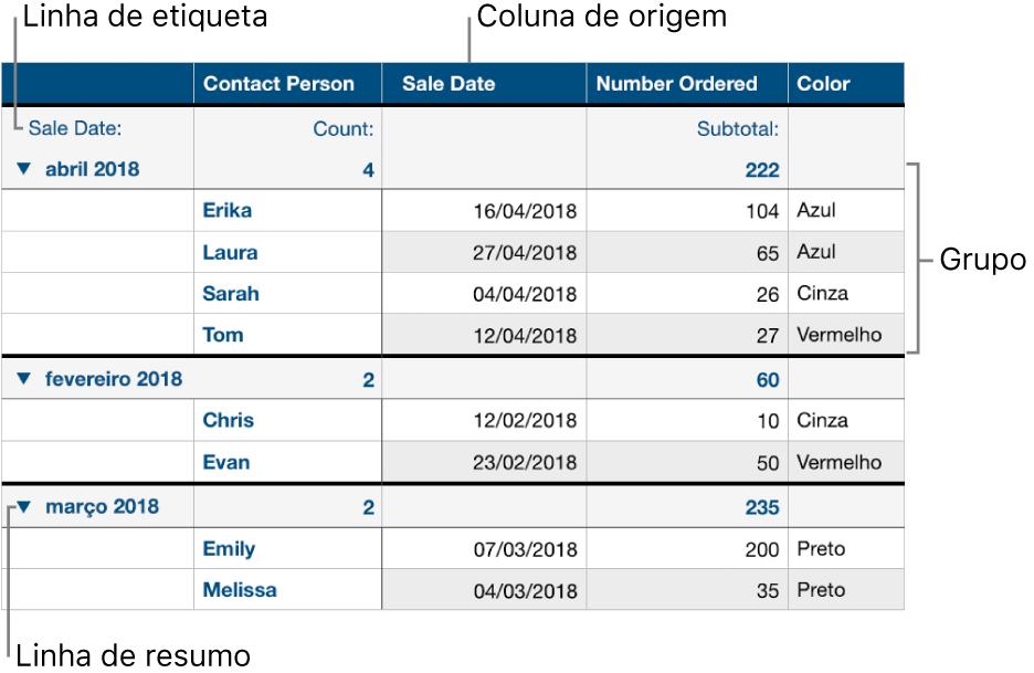 Uma tabela categorizada mostrando os grupos de coluna de origem, linha de resumo e etiqueta.