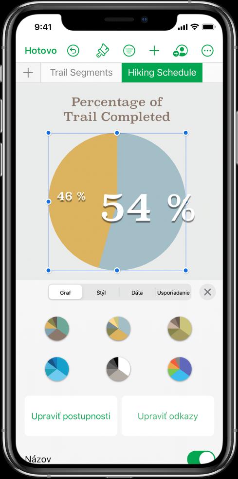 Výsečový graf zobrazujúci percentuálne hodnoty absolvovaných trás. Menu Formát je tiež otvorené azobrazuje rôzne štýly grafu, zktorých je možné vyberať, ako aj možnosti na úpravu postupnosti alebo odkazov na grafy azapnutie alebo vypnutie názvu grafu.