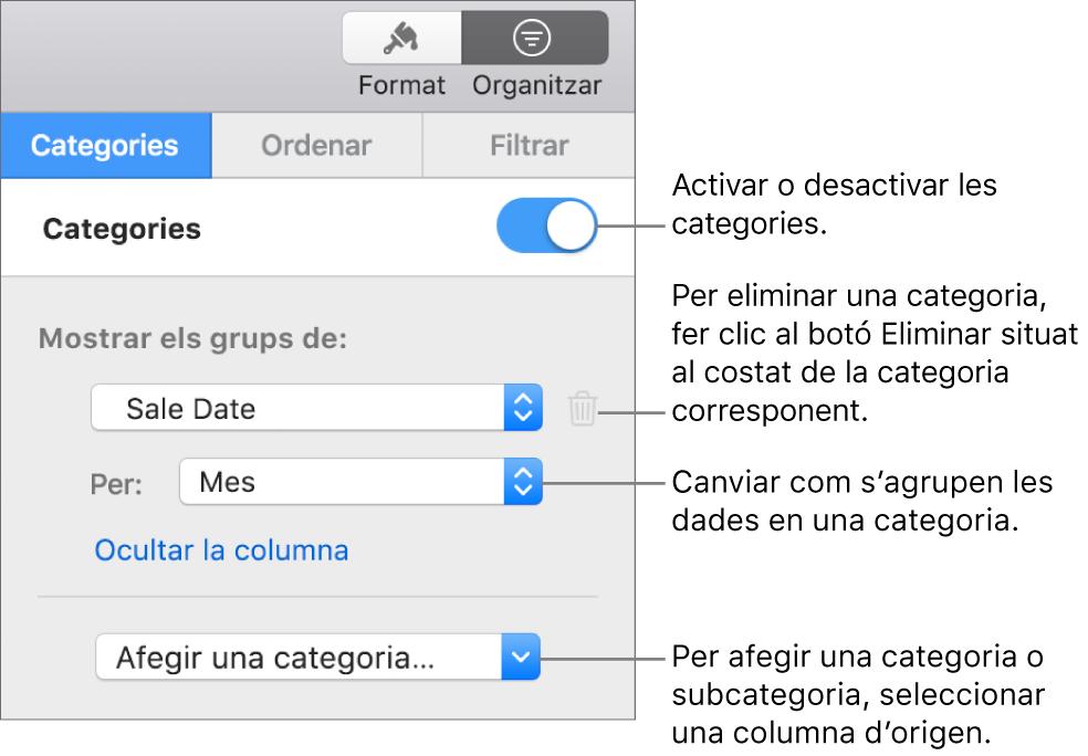 La barra lateral de categories amb opcions per desactivar categories, eliminar categories, agrupar dades, ocultar la columna d'origen i afegir categories.