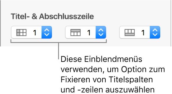 Die Einblendmenüs zum Hinzufügen von Titelzeilen und Titelspalten zu einer Tabelle und zum Fixieren von Titelzeilen und -spalten.