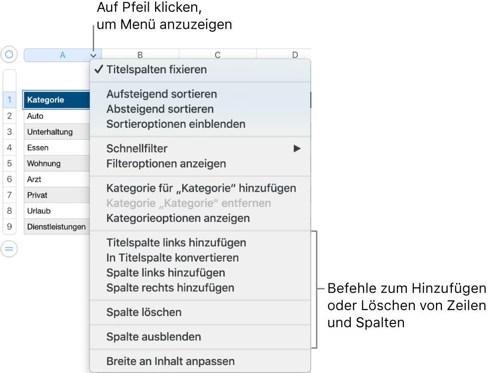 Tabellenspaltenmenü mit Befehlen, um Zeilen und Spalten hinzuzufügen und zu löschen.