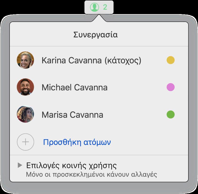 Το μενού «Συνεργασία», στο οποίο εμφανίζονται τα ονόματα των ατόμων που συνεργάζονται στο υπολογιστικό φύλλο. Οι επιλογές κοινής χρήσης εμφανίζονται κάτω από τα ονόματα.