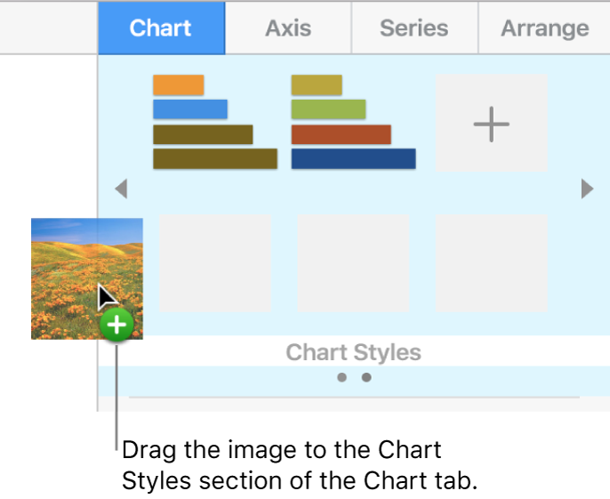 Dragging an image to the chart styles section of the sidebar to create a new style.