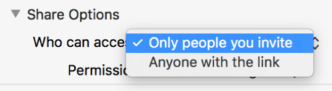 "The Share Options section of the collaboration dialog with the ""Who can access"" pop-up menu open and ""Only people you invite"" selected."