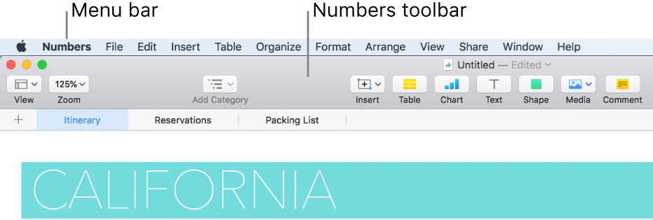 The menu bar at the top of the screen with Apple, Numbers, File, Edit, Insert, Format, Arrange, View, Share, Window, and Help menus. Below the menu bar is an open Numbers spreadsheet with toolbar buttons across the top for View, Zoom, Add Category, Insert, Table, Chart, Text, Shape, Media, and Comment.