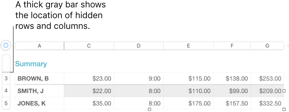 A thick gray bar that shows the location of hidden rows and columns