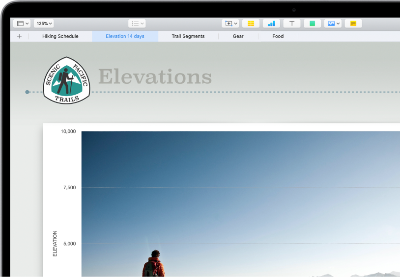 A spreadsheet tracking hiking information, showing sheet names near the top of the screen. The Add Sheet button is on the left, followed by sheet tabs for Hiking Schedule, Elevation, Trail Segments, Gear, and Food. The Elevation sheet is selected.
