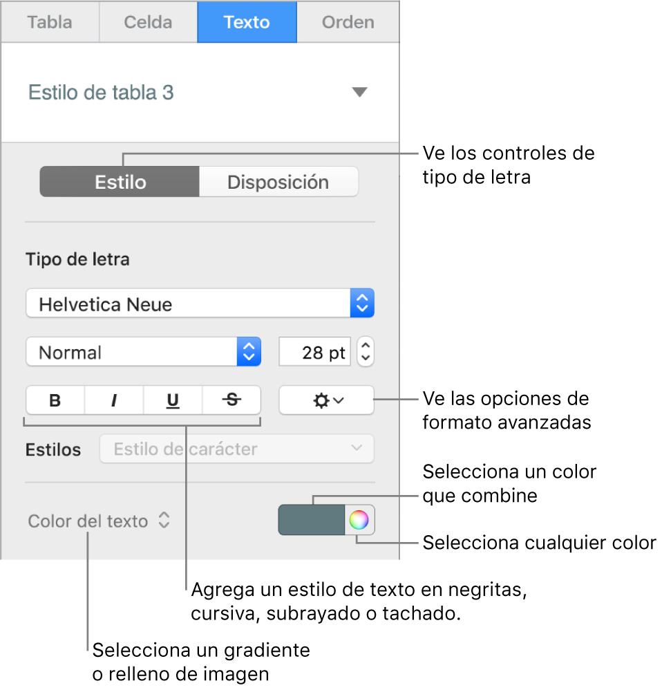 Control para aplicar un estilo al texto de la tabla.