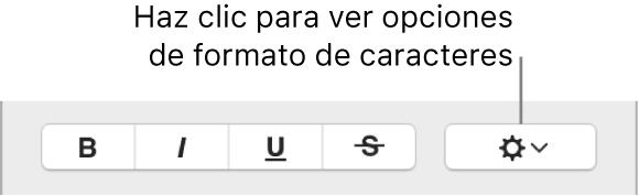 """La casilla """"Opciones avanzadas"""" junto a los botones Negrita, Cursiva y Subrayado."""
