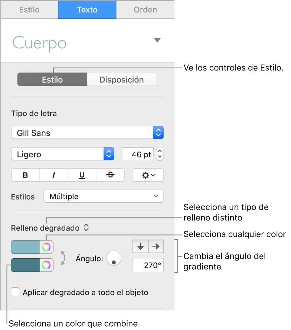 Barra lateral de texto en la que se muestra cómo cambiar el color del texto.